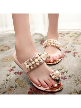 Beading Ring Toe Slippers