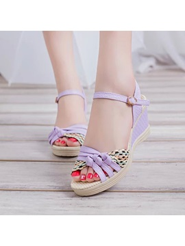 Pu Crochet Peep Toe Wedge Sandals