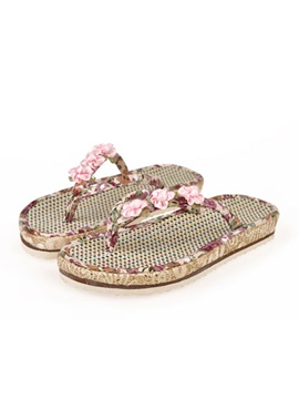 Floral Printed Applique Thong Flat Sandals
