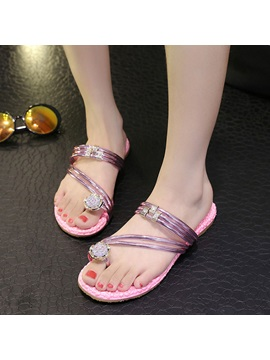 Crystal Ring Toe Flat Beach Sandals