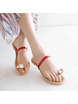 Crystal Ring Toe Flip Flops