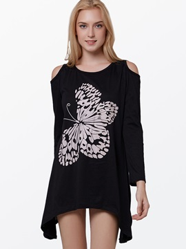 Dew Shoulder Butterfly Decoration Long Sleeve T Shirt