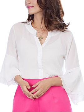 Stylish Flare Sleeve And Round Neck Shirt