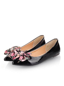 Floral Printed Pointed Toe Flats