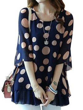 Stylish Half Sleeves Polka Dots Blouse