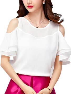 Double Layer Sleeves Off Shoulder Blouse