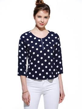 Stylish Roll Up Sleeves Polka Dots Blouse