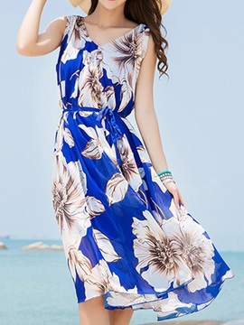 Floral Print V Sleeveless Day Dress