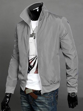 Solid Color Stand Collar Mens Full Zip Jacket