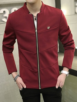 Solid Color Up Mens Peaked Lapel Jacket