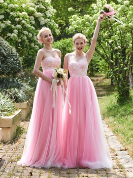 High Quality V Neck Lace A Line Long Bridesmaid Dress