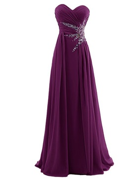 A Line Sweetheart Pleats Beading Chiffon Prom Dress