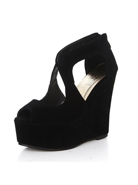 Solid Color Suede Peep Toe Wedge