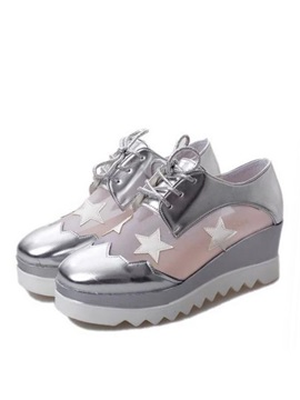 Stars Mesh Patchwork Lace Up Sneakers