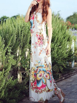 Ethnic Halter Print Maxi Dress