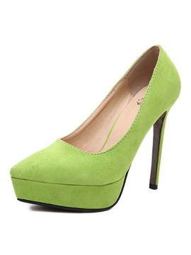 European Suede Platform Stiletto Heel Pumps