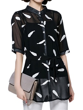 Chic Feather Printing Single Breasted Blouse