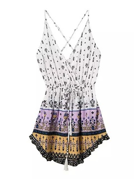 Mixed Print plunging Neck Romper