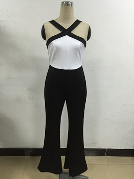 Stylish Color Block Halter Jumpsuit