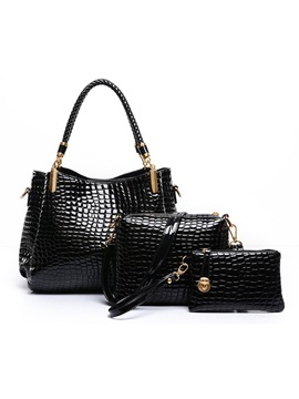 Croco Embossed Zipper Pu Women Bag Set