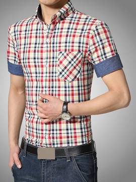 Multi Color Mini Plaid Front Pocket Mens Shirt