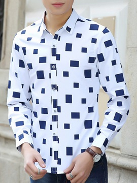 Colorful Diamond Printed Mens Casual Shirt