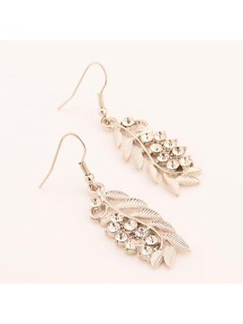 Leaf Shape Rhinestones Alloy Women Earrings