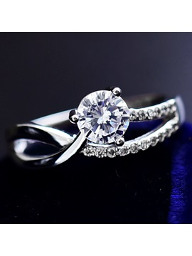 Stylish Zircon 925 Silver Women Ring