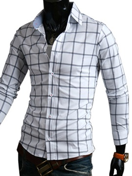 Middle Plaid Single Breasted Mens Slim Fit Shirt