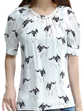 Cute Pattern Bead Collar Blouse
