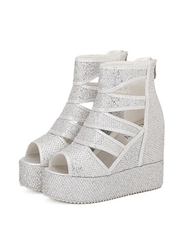 Sequins Cut Out Covering Heel Wedge Sandals
