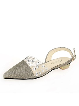 Rhinestone Pointed Toe Flat Sandals