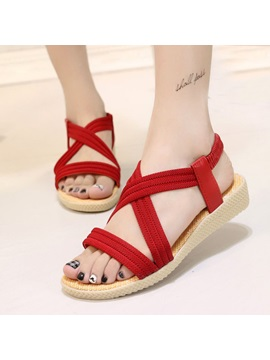 Solid Color Elastic Band Flat Sandals