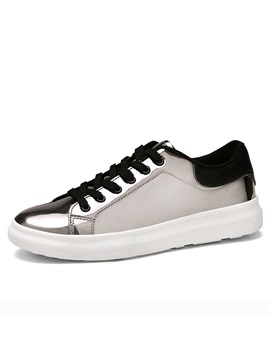 Metallic Round Toe Lace Up Skater Shoes