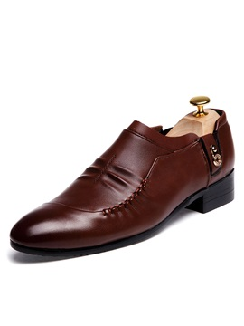 Pu Round Toe Pleated Dress Shoes