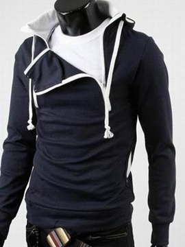 Zipper Design Lace Up Mens Hoodie With Hat