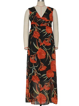 Floral Print V Sleeveless Empire Waist Maxi Dress