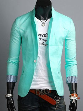 Color Block One Button Mens Blazer