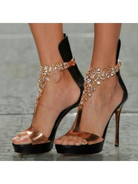Rhinestone T Strap Covering Heel Sandals