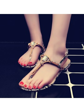 Diamond Snakeskin Printed Flat Sandals