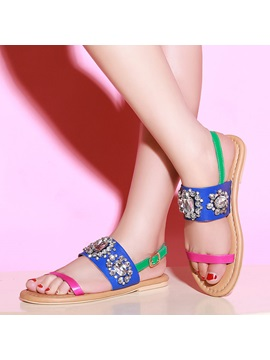 Rhinestone Color Block Flat Sandals