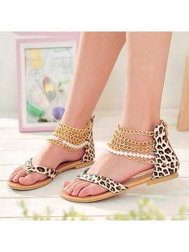 Chains Leopard Printed Flat
