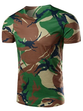 Camouflage Printed Short Sleeve Mens T Shirt