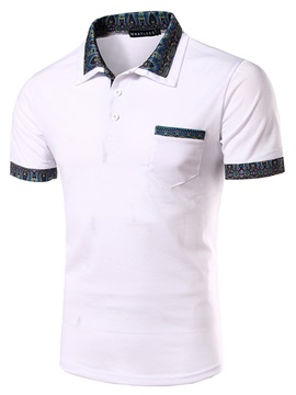 Front Pocket Short Sleeve Mens Lapel Polo
