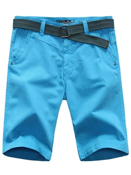 Solid Color Knee Length Mens Casual Shorts