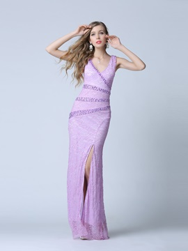 Glamorous V Neck Beading Sheath Lace Evening Dress