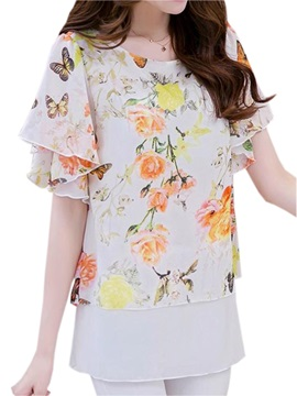 Special Sleeves Floral Printed Blouse