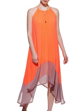 Asymmetric Contrast Sleeveless Maxi Dress