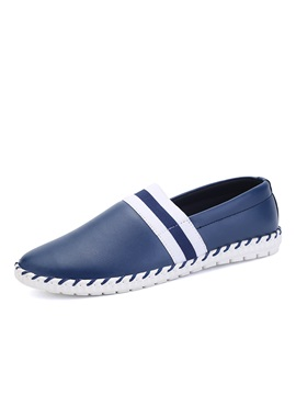 Striped Elastic Band Slip On Loafers