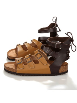 Color Block Buckles Lace Up Sandals